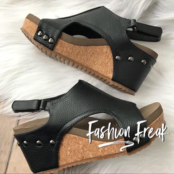 e7606e173c3 LAST PAIR Size 6 Black Corky Wedge Faux Leather Boutique